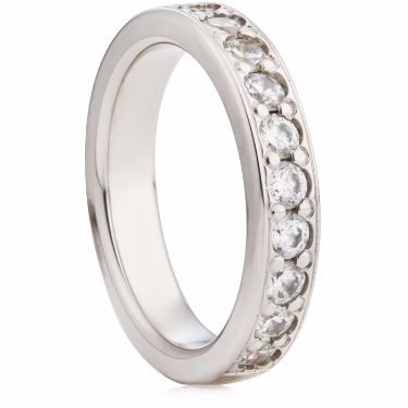 4mm Grain Set Brilliant Cut Half Eternity Ring