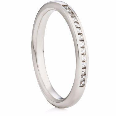 2.5mm Wide Princess Cut Diamond Half Eternity Ring