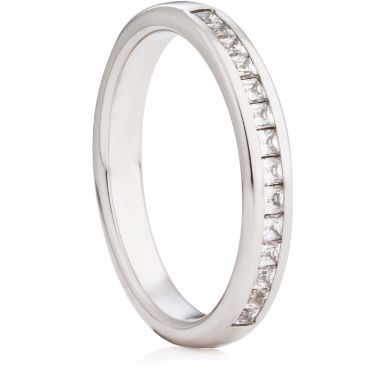 3mm Wide Princess Cut Diamond Half Eternity Ring