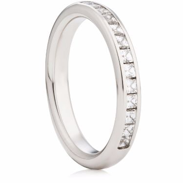 3mm Wide Princess Cut Diamond Half Eternity Ring
