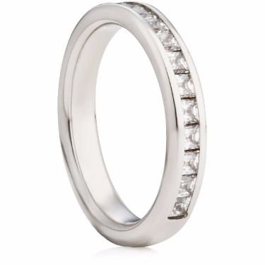 3.5mm Wide Princess Cut Diamond Half Eternity Ring