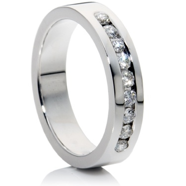 Medium Weight Channel Set Half Eternity Ring.