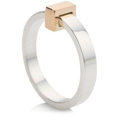 Ring with 9ct Rose Gold Block