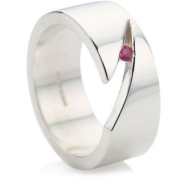 Pink Sapphire Wide Slice Ring