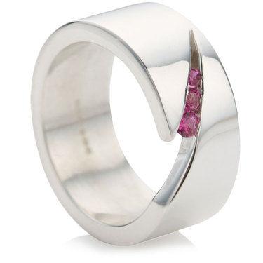 Triple Pink Sapphire Slice Ring
