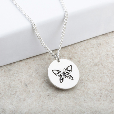 Butterfly Designed Laser Engraved Pendant
