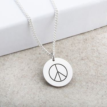Silver Pendant with Laser Engraved Peace Symbol
