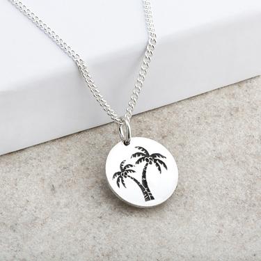 Palm Tree Designed Laser Engraved Pendant