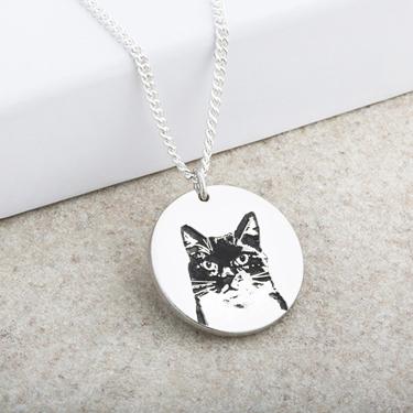 Cat Portrait Laser Engraved Disc Pendant