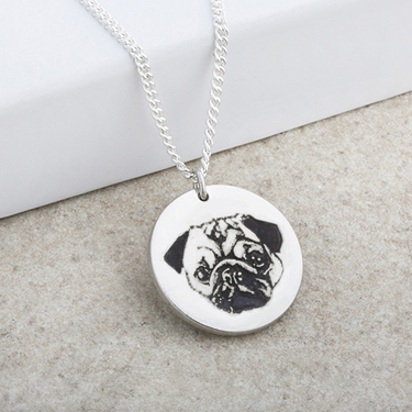 Dog Portrait Laser Engraved Disc Pendant