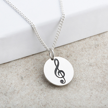 Treble Clef Laser Engraved Disc Pendant
