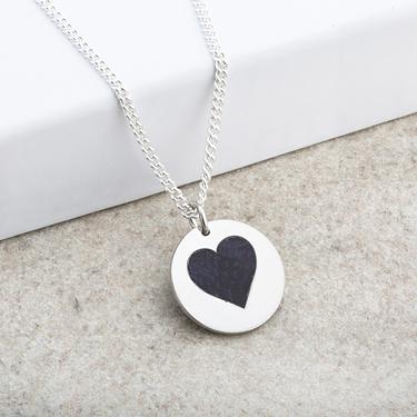 Heart Laser Engraved Silver Pendant