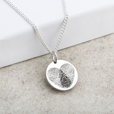 Double Fingerprint Laser Engraved Pendant