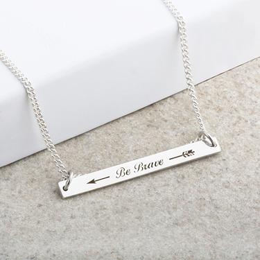 Be Brave Laser Engraved Bar Pendant