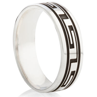 Greek Key Designed Laser Engraved Ring