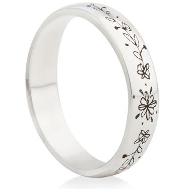 Hand Drawn Flower Laser Engraved Ring