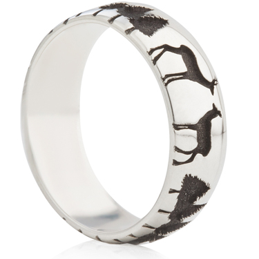 Deer and Forest Silhouette Laser Engraved Ring