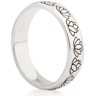 Lotus Flower Designed Laser Engraved Ring