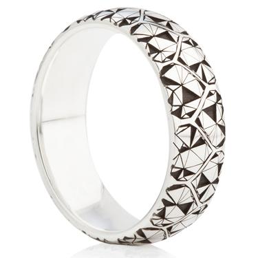Geometric Heart Designed Laser Engraved Ring