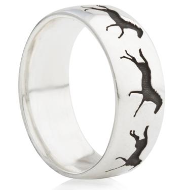 Galloping Horse Ring Laser Engraved