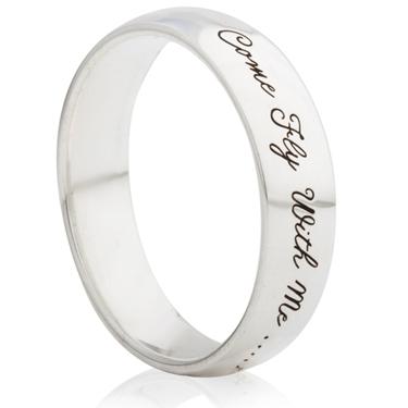 Song Lyric Designed Laser Engraved Ring