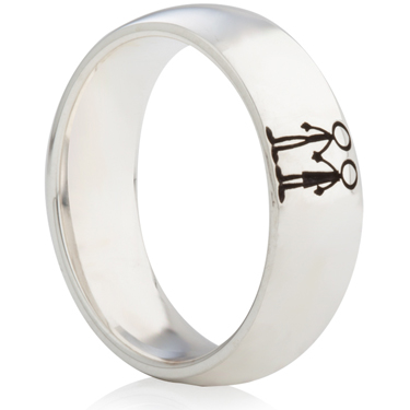 Laser Engraved Ring with Stick People