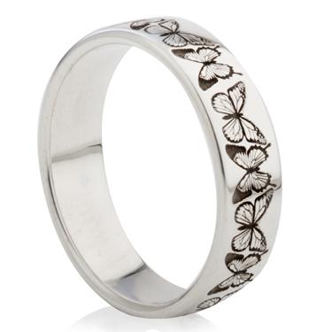Butterfly Designed Laser Engraved Ring