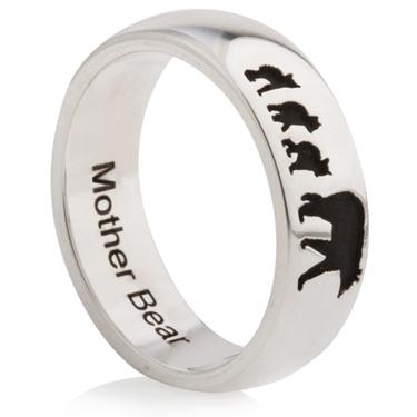 Mother Bear Laser Engraved Ring