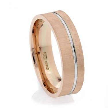 Rose and White Gold Grooved Two Colour Wedding Ring