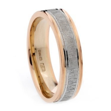 Rose and White Gold Decorative Wedding Ring