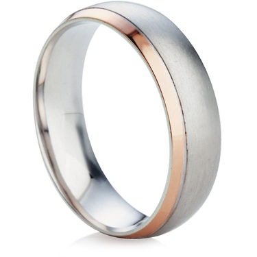 Two Colour Bevelled Edge Wedding Ring