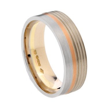 7mm Three Colour Wedding Ring