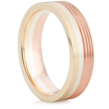 6mm Three Colour Wedding Ring
