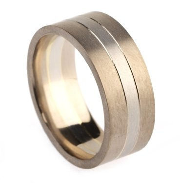 8mm Two Colour Plain Ring