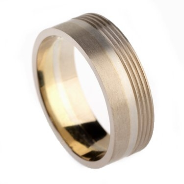7mm Two Colour Plain Ring