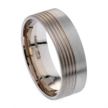 7mm Two Colour Plain Ring