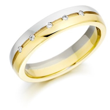 Two Colour Brilliant Cut Diamond Wedding Ring