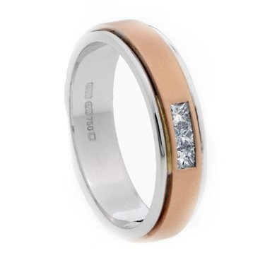 Two Colour Princess Cut Diamond Set Ring