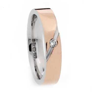 Two Colour Brilliant Cut Diamond Set Wedding Ring