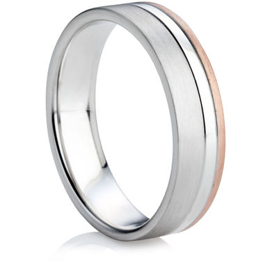 Two Colour Heavy Flat Court Wedding Ring