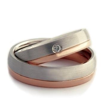 Diamond Set Two-Colour Double Comfort Wedding Ring