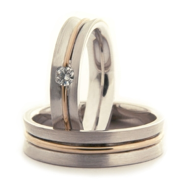 Two Colour Brilliant Cut Diamond Wedding Ring