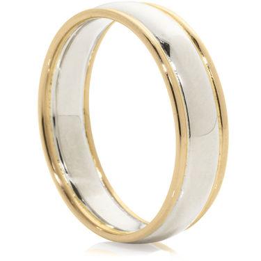 Bi-Colour Platinum D-Shape Ring