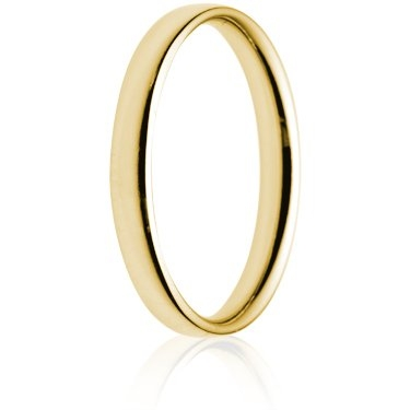 2.5mm Light Weight Gold Court Wedding Ring
