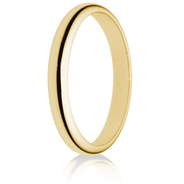 2.5mm Light Weight Gold D-Shape Wedding Ring