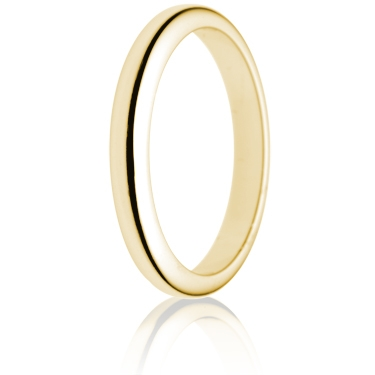 2.5mm Medium Weight Gold D-Shape Wedding Ring