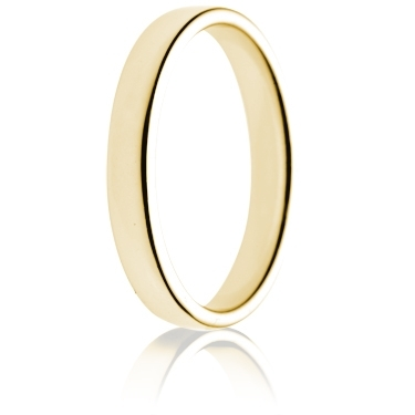 3mm Light Weight Gold Double Comfort Wedding Ring