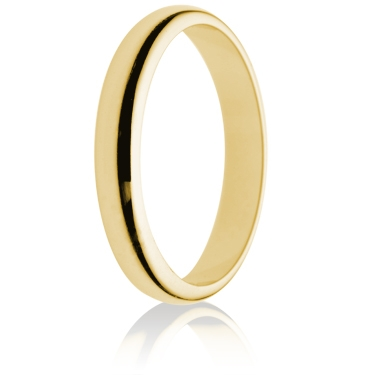 3mm Light Weight Gold D-Shape Wedding Ring