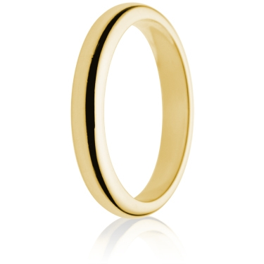 3mm Medium Weight Gold D-Shape Wedding Ring
