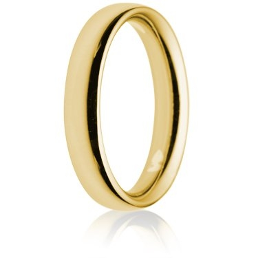 4mm Heavy Weight Gold Court Wedding Ring
